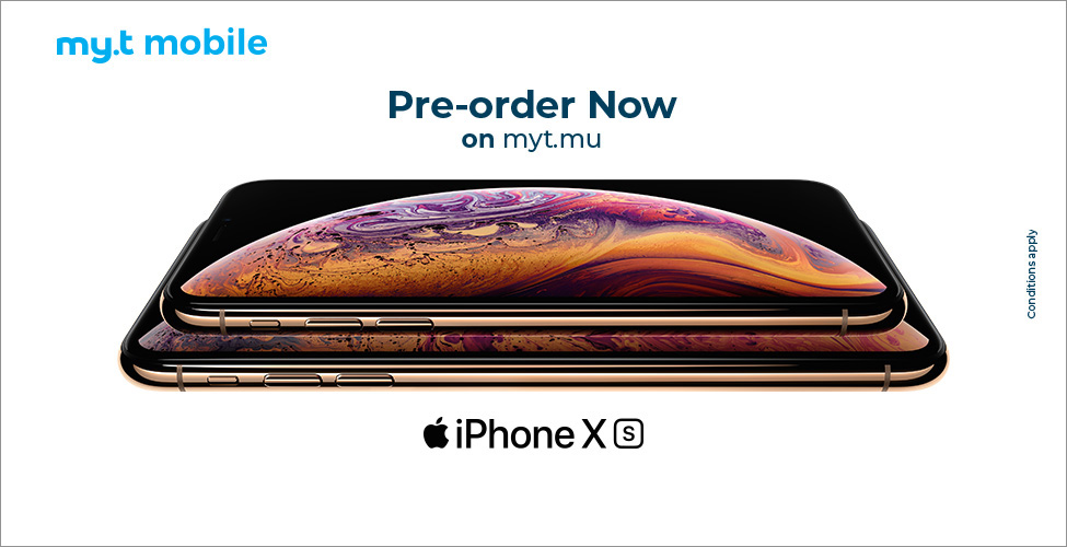 Pre-order your iPhone Xs or iPhone Xs Max now on myt.mu