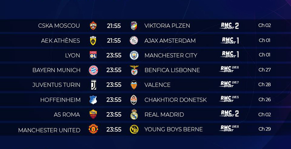 Ligue des Champions : tous les matches à suivre en Live et en HD sur my.t ce mardi 27 novembre