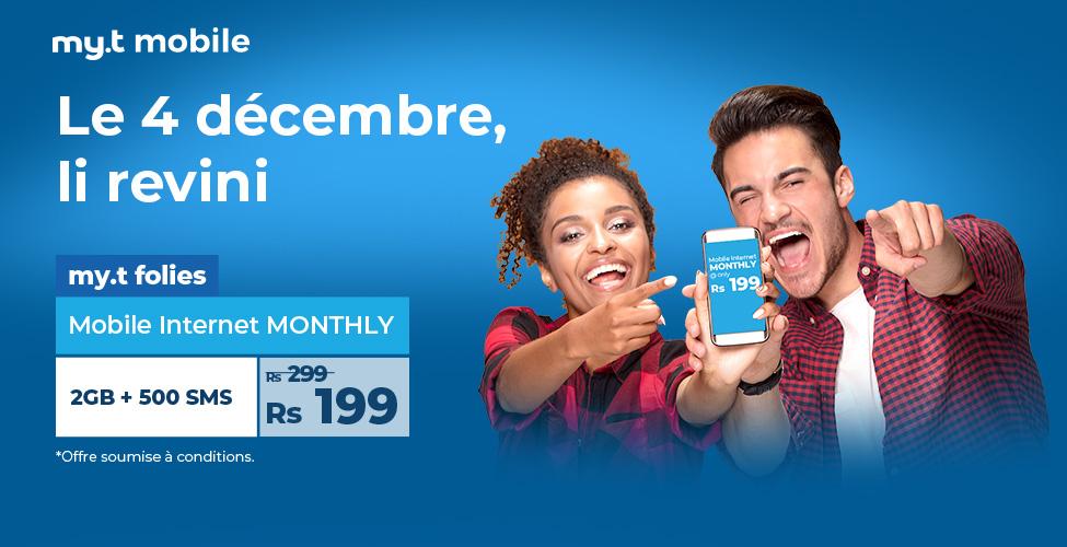 my.t folies : ce mardi 4 décembre le package mobile internet monthly de 2 GB est à seulement Rs 199