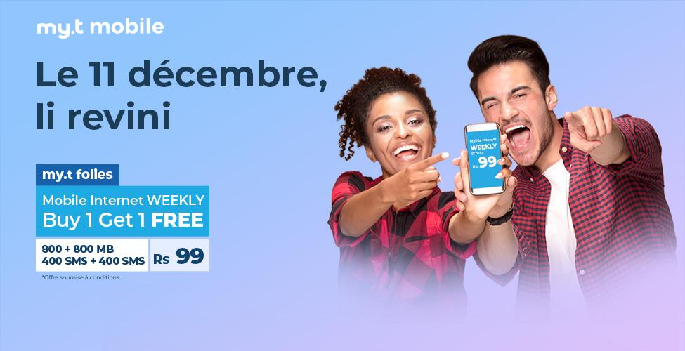 my.t folies : ce mardi 11 décembre, achetez un package internet mobile weeky à Rs 99 et recevez un deuxième en cadeau
