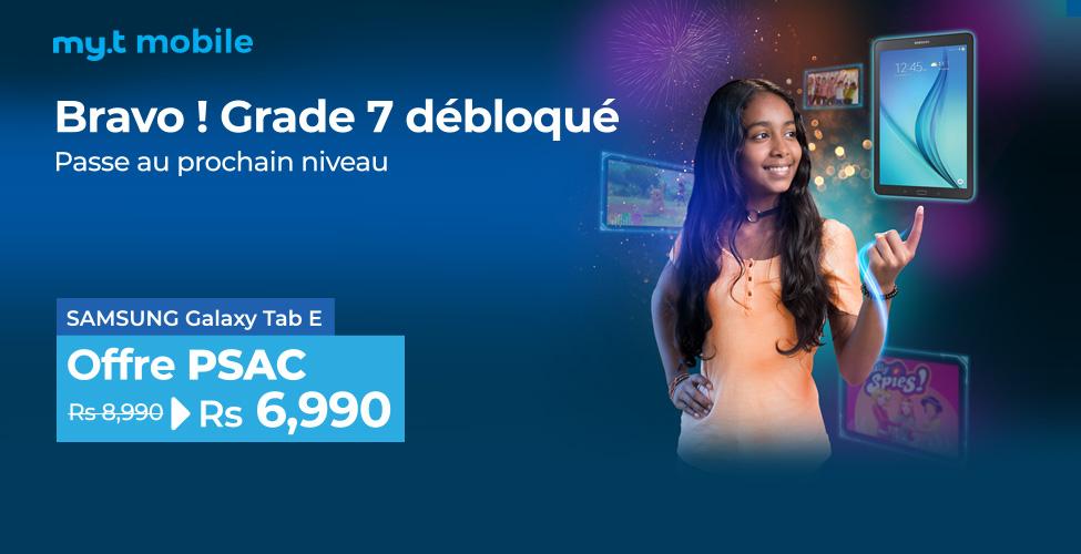 Offre 'Spéciale PSAC' dans les Telecom Shops : le Samsung Galaxy Tab E à seulement Rs 6,990.