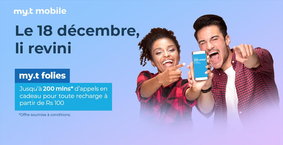 my.t folies : ce mardi 18 décembre recevez jusqu'à 200 minutes d'appels en cadeau en rechargeant votre portable