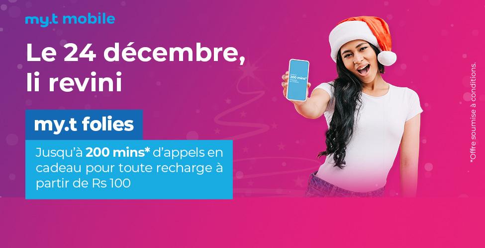 my.t folies : ce lundi 24 décembre recevez jusqu'à 200 minutes d'appels en cadeau en rechargeant votre portable