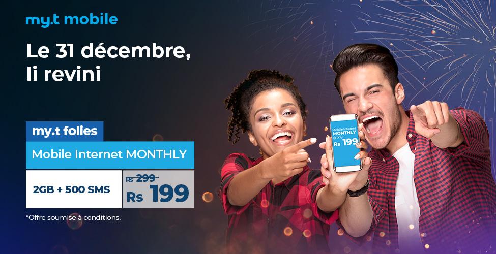 my.t folies : ce lundi 31 décembre le package mobile internet monthly de 2 GB est à seulement Rs 199