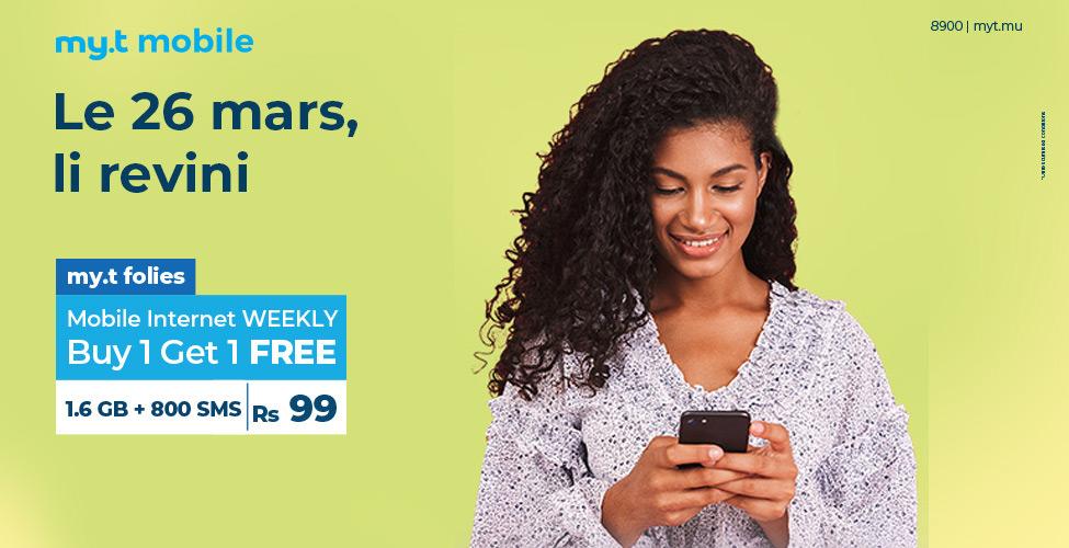 my.t folies : ce mardi 26 mars, achetez un package internet mobile weekly à Rs 99 et recevez un deuxième en cadeau