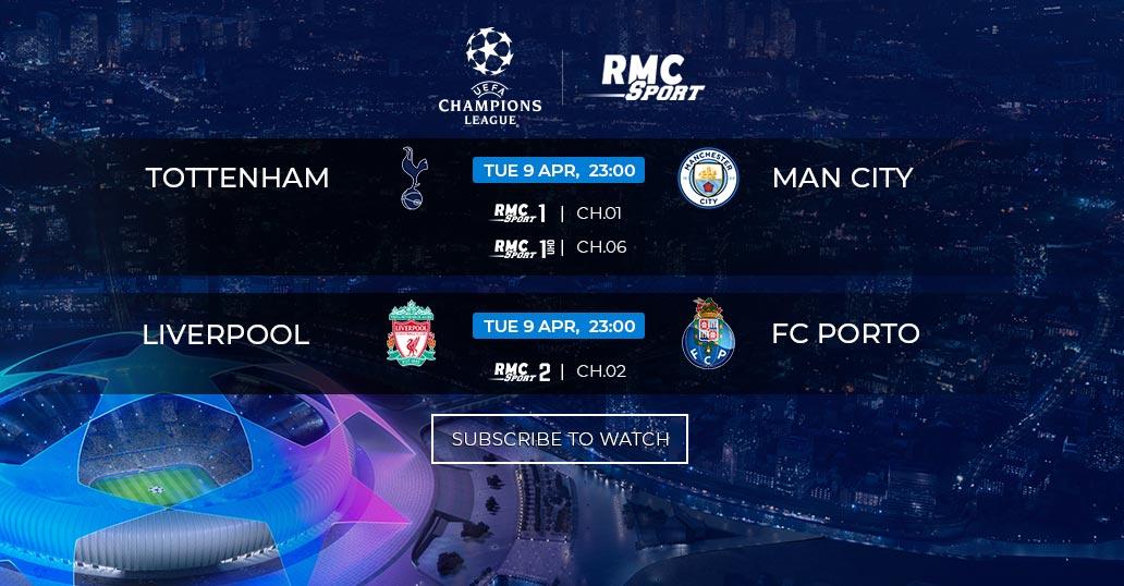 Ligue des Champions : Tottenham v/s Man City et Liverpool v/s Porto en direct sur my.t mardi 9 avril