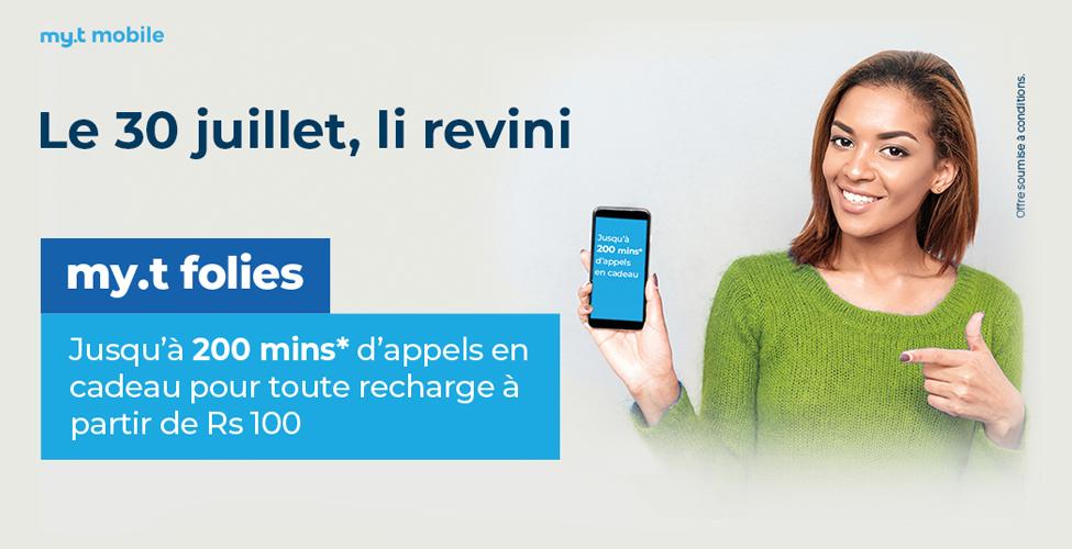 my.t folies : ce mardi 30 juillet, recevez jusqu'à 200 minutes d'appels en cadeau en rechargeant votre portable