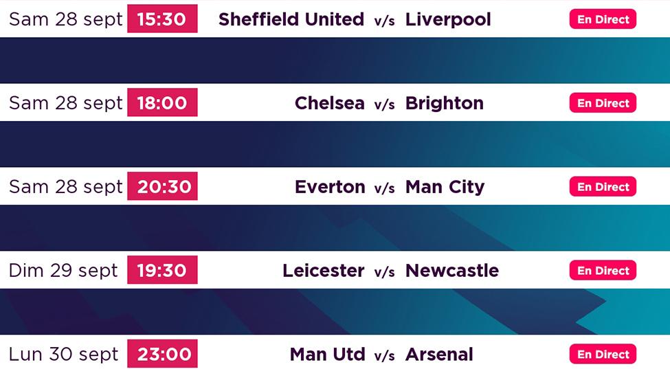 Premier League : Tous vos matchs préférés en live sur my.t ce week-end