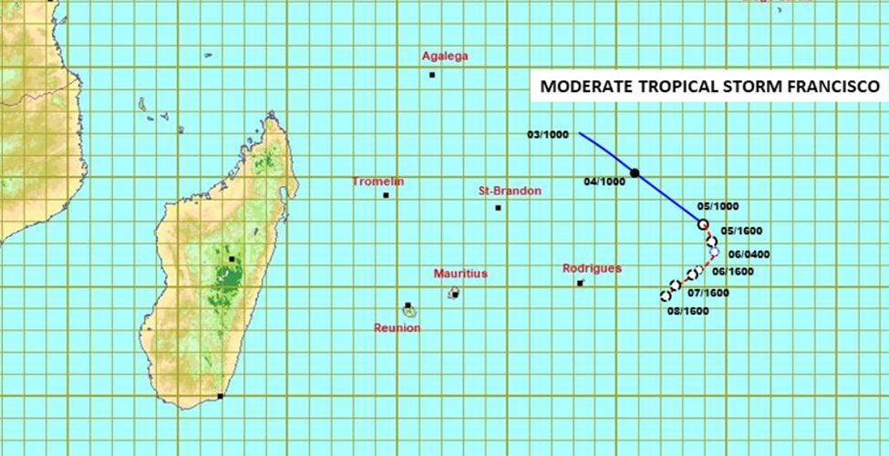Météo : la dépression tropicale dans les Mascareignes s'est intensifiée en une tempête tropicale modérée et a été baptisée Francisco