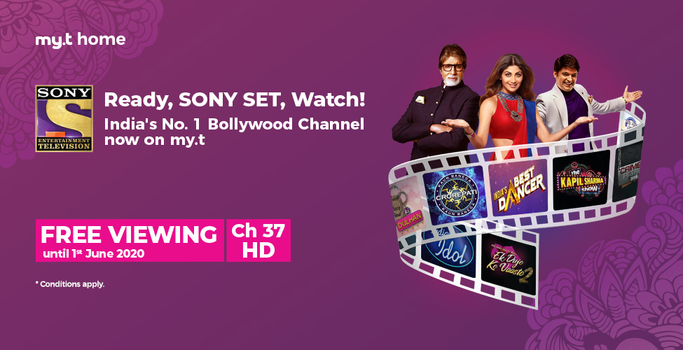 Sony SET, India's most popular Bollywood channel, now available on my.t