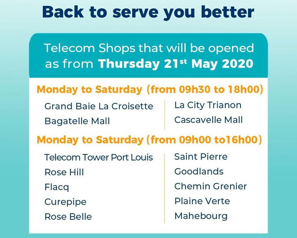 Quatorze Telecom Shops rouverts à ce jour