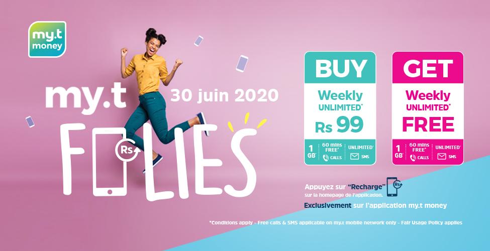 Ce mardi 30 juin, achetez un pack Weekly Unlimited sur l'application my.t money à seulement Rs 99 et recevez un deuxième en cadeau