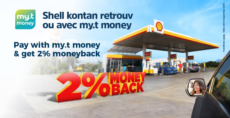 Payez avec votre carte my.t money dans les stations-service Shell et obtenez 2% de Moneyback