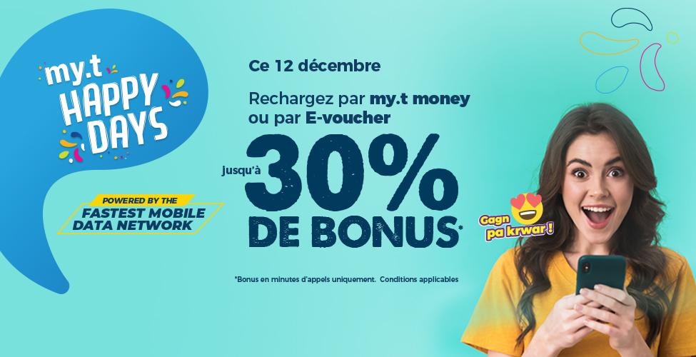 Samedi 12 décembre : rechargez votre portable par my.t money ou E-voucher et gagnez jusqu'à 30 % de Bonus