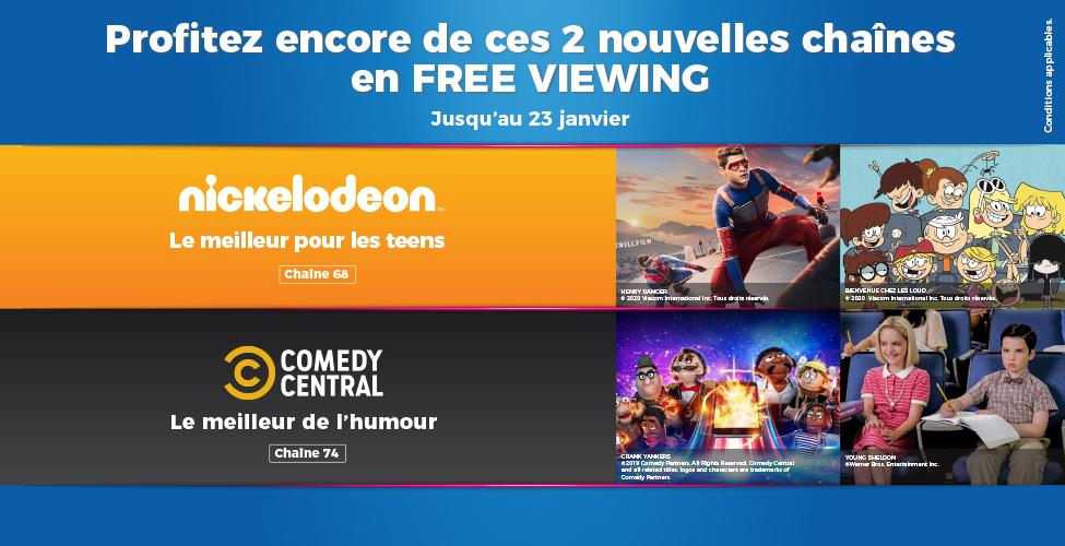 Nickelodeon et Comedy Central: deux chaînes en FREE VIEWING sur my.t jusqu'au 23 janvier