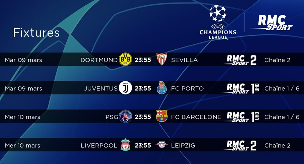 8e de finale retour de la Ligue des Champions : de superbes matchs à suivre en LIVE sur my.t
