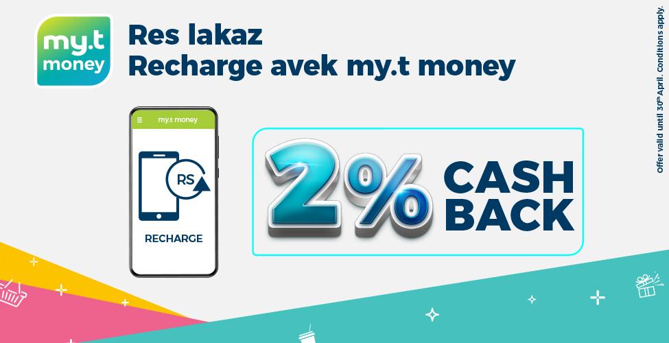 Rechargez votre smartphone ou achetez vos 'Unlimited Data Packs' à travers my.t money et obtenez 2% de cashback