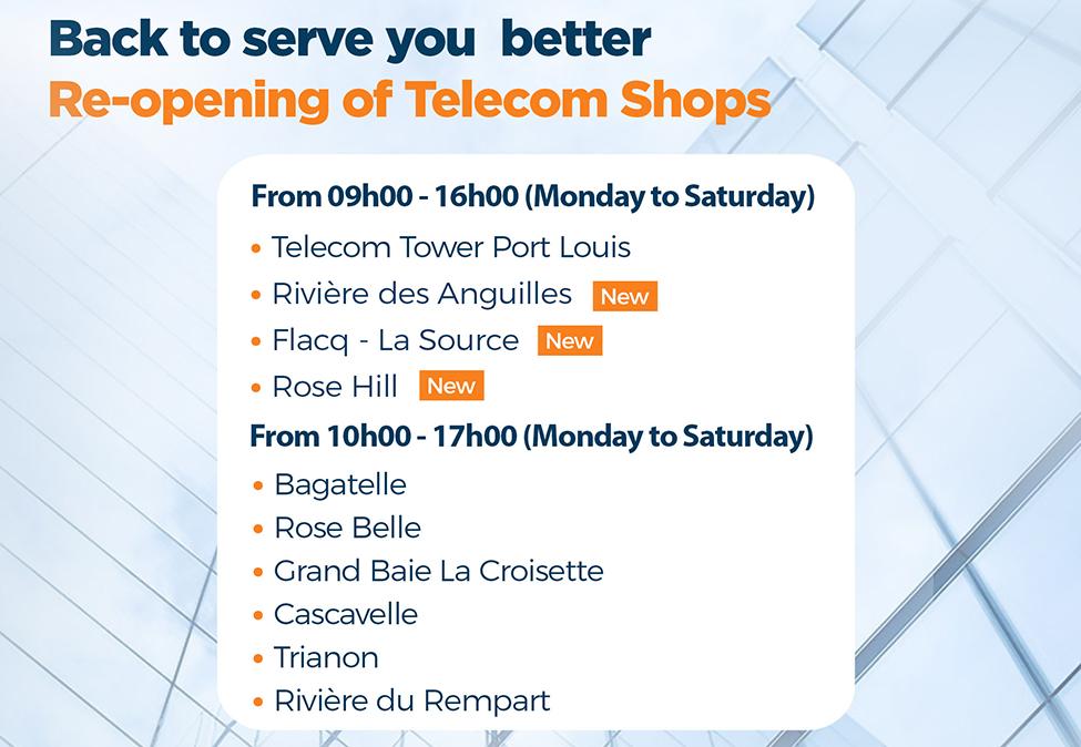 Réouverture de 3 Telecom Shops additionnels depuis le 5 avril 2021