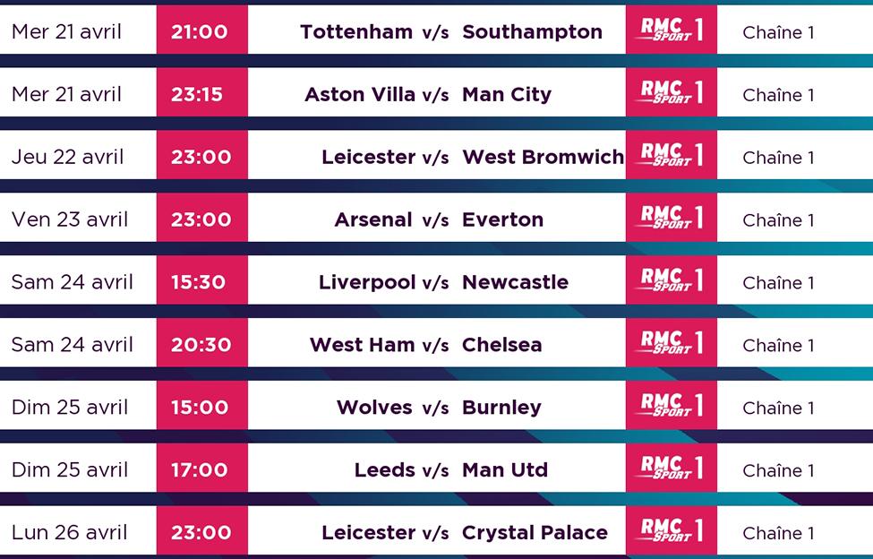 La bataille pour une place européenne continue de plus belle en Premier League ; vivez ces matchs en direct sur my.t