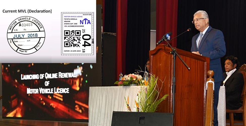 Lancement du 'Online renewal of motor vehicle licence system' : vous pouvez désormais renouveler votre 'déclaration' en ligne