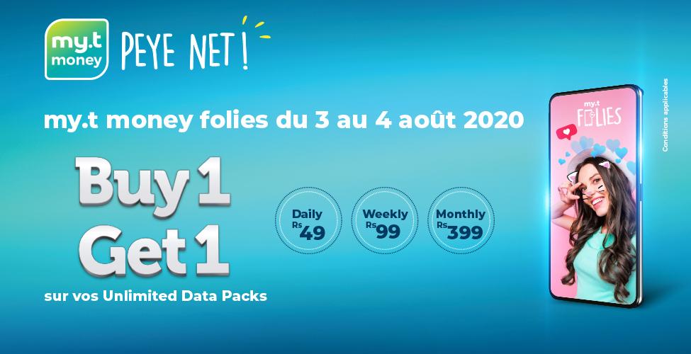 my.t folies : du 3 au 4 août achetez un 'Unlimited data pack' Daily, Weekly ou Monthly et recevez un deuxième en cadeau