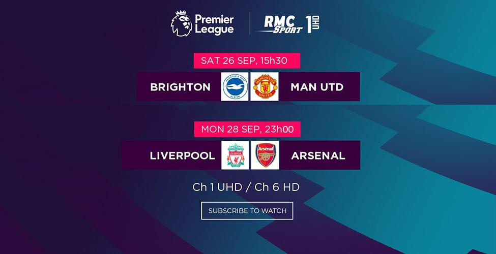 Brighton v/s Man United et Liverpool v/s Arsenal en LIVE sur my.tce week-end