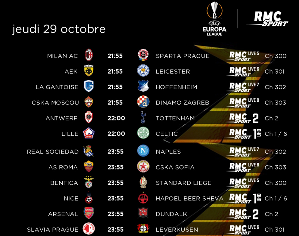 Suivez la 2e journée de l'Europa League en direct sur les chaînes RMC Sport