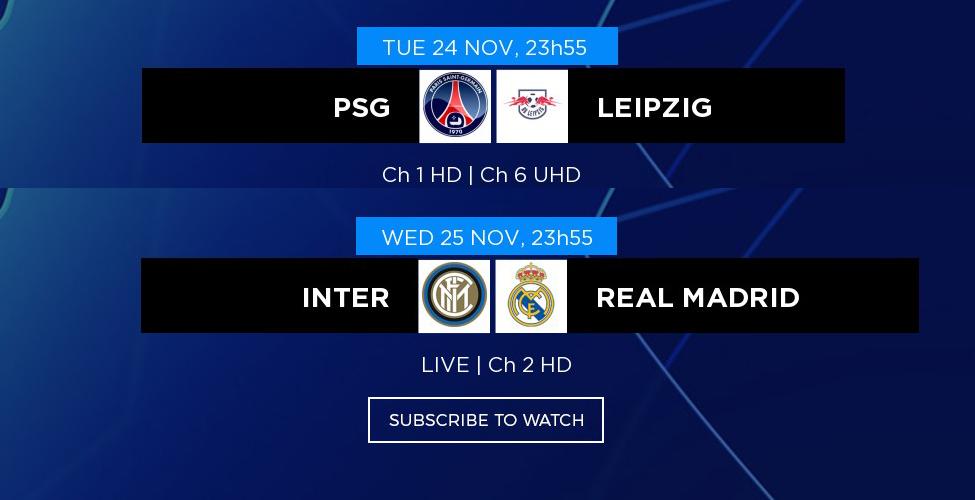La 4e journée de la Ligue des Champions à suivre en LIVE sur my.t