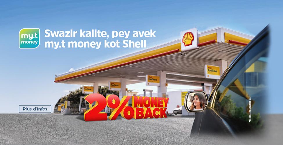 Stations-service Shell : payez avec my.t money et obtenez 2% de Moneyback