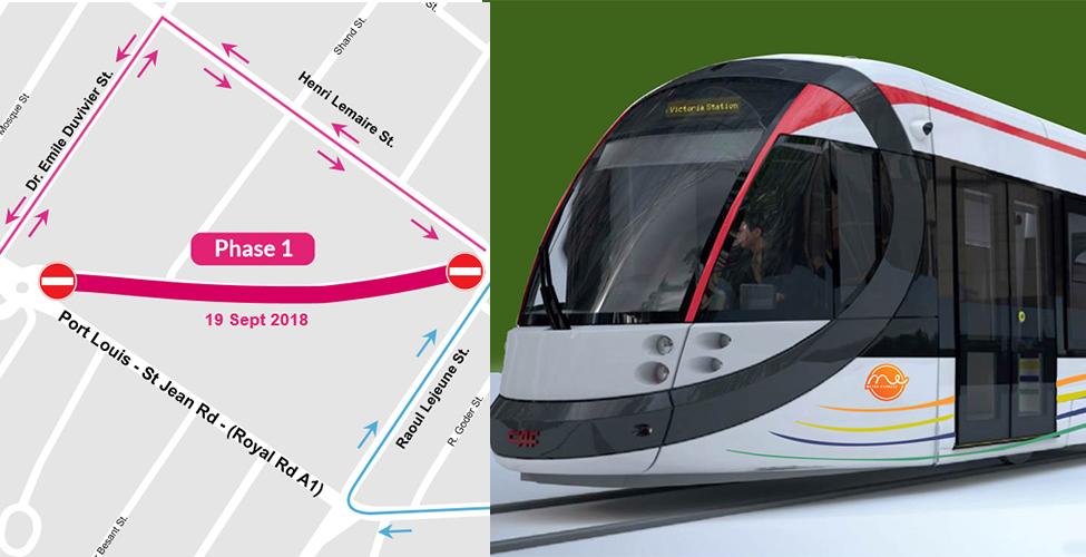Projet Metro Express : fermeture d'une partie de la rue Vandermeersch jusqu'au rond-point de Beau Bassin
