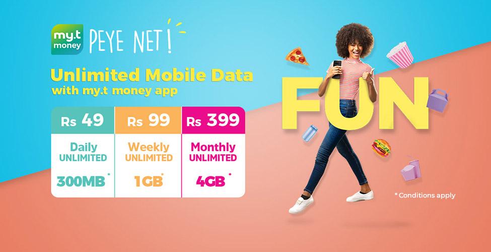 Vos mobile data packages illimités avec my.t money