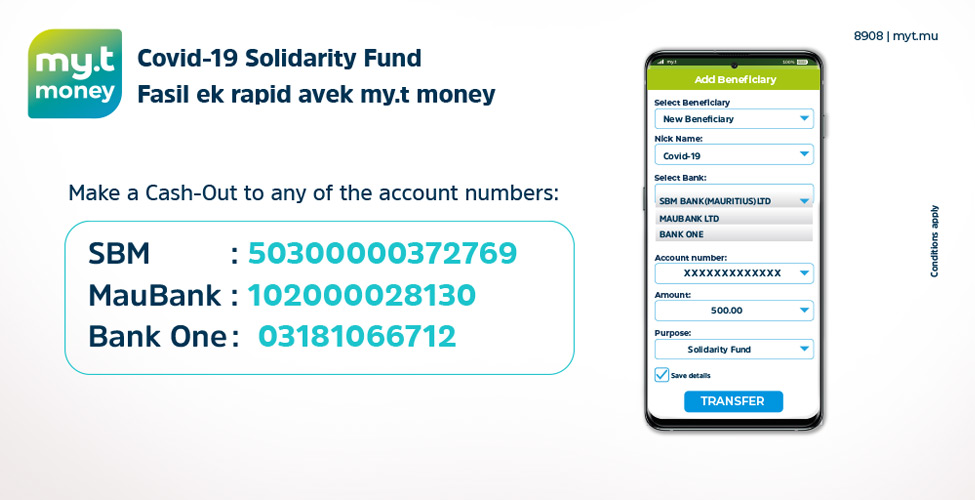 Contribuer au 'Covid-19 Solidarity Fund', c'est facile avec my.t money