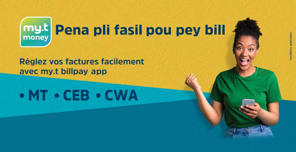 Régler vos factures de MT, CEB et CWA devient encore plus facile avec my.t billpay app