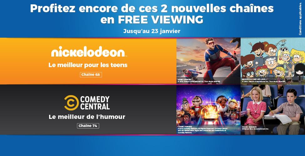Nickelodeon et Comedy Central : deux chaînes en FREE VIEWING sur my.t jusqu'au 23 janvier