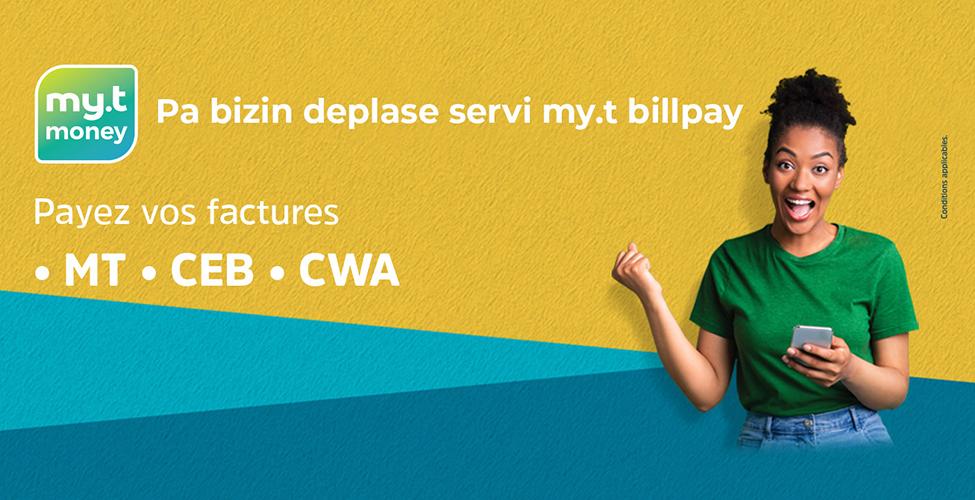 Avec my.t billpay, réglez vos factures de MT, CEB et CWA en toute sécurité de chez vous