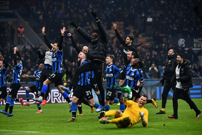 Inter win thrilling Milan derby to move top of Serie A